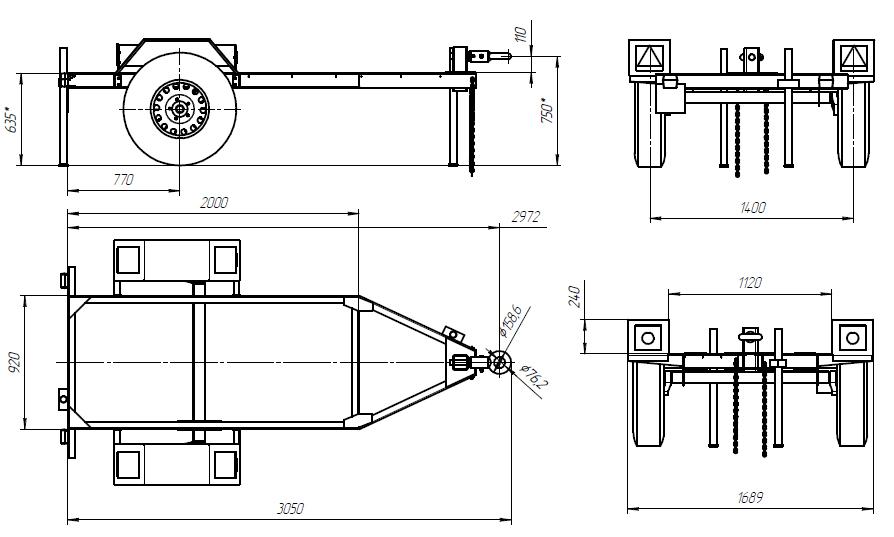 Прицеп одноосный ПТ 1-1.8 (2000х1200 мм)