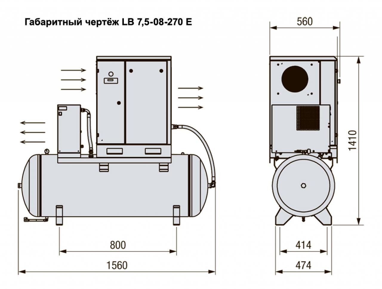 LB 7,5-10/270 E Винтовой компрессор с ременным приводом
